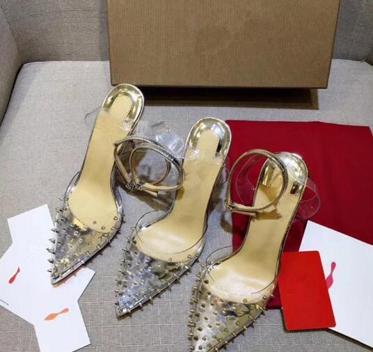 Commercio all'ingrosso di vendita caldo di alta qualità rosso tacco alto cintura trasparente chiodo superficiale stile bocca vestito scarpe moda donna sexy festa di nozze sho