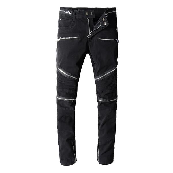 Black Mens Skinny Jeans Multi-zipper US Size 29~42 Slim Fit Motorcycle Biker Denim For Men Fashion Brand Designer Hip Hop Pants 1071