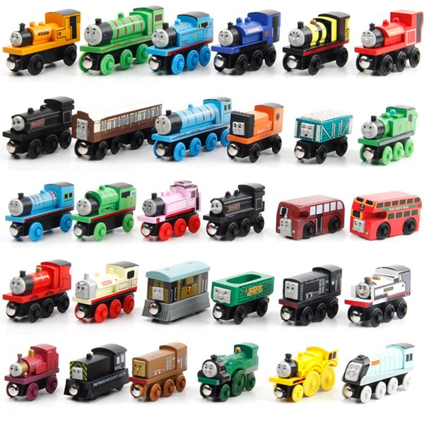 53PCS Wooden Train Set Anime Railway Mini Train Wood Train Car Toy Gift Wooden Magnetic Locomotives Toy for Children Kids