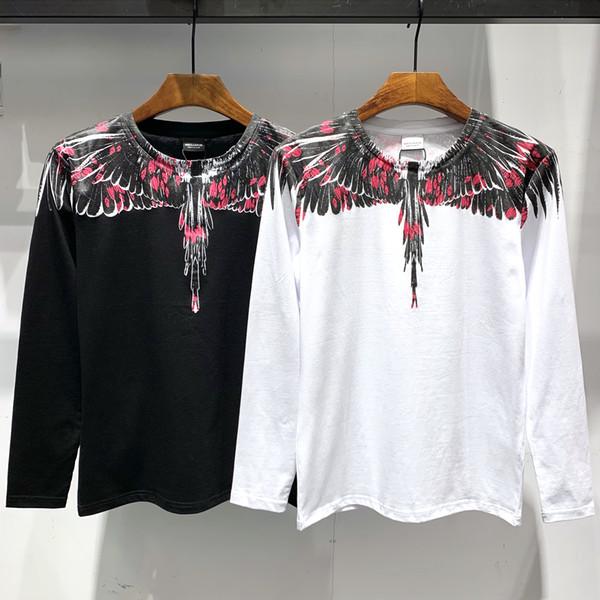 2019 Fashion Marcelo Mens Designer T Shirts # 005 Designer di lusso Burlon T-Shirt 19ss MB Ali Stampato Uomo Donna Manica lunga HIP-HOP Tees