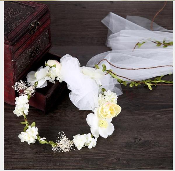 Headdress garland net gauze tray hairdress Korean wedding dress exterior photograph garland accessories