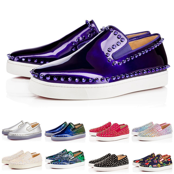 2019 designer low cut red bottoms shoes studded spikes flat sneakers for men women glitter party lovers genuine leather casual rivet sneaker