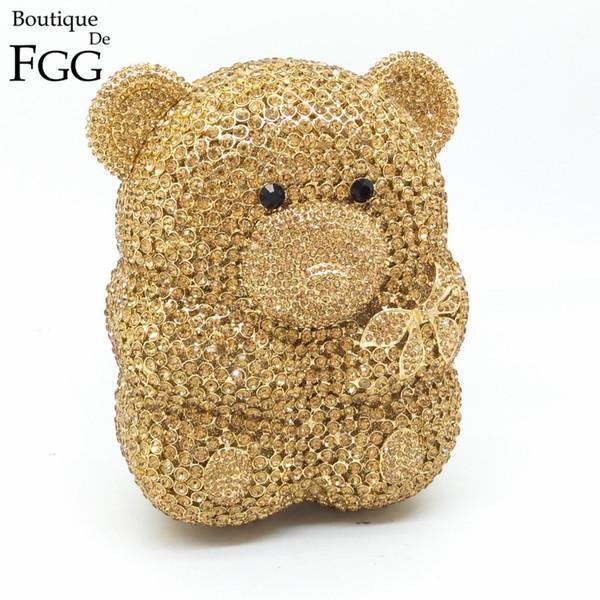 Coffret cadeau femmes Cartoon ours mignon évider en cristal d'or Sacs de soirée en métal dur cas Embrayages strass sac à main d'embrayage