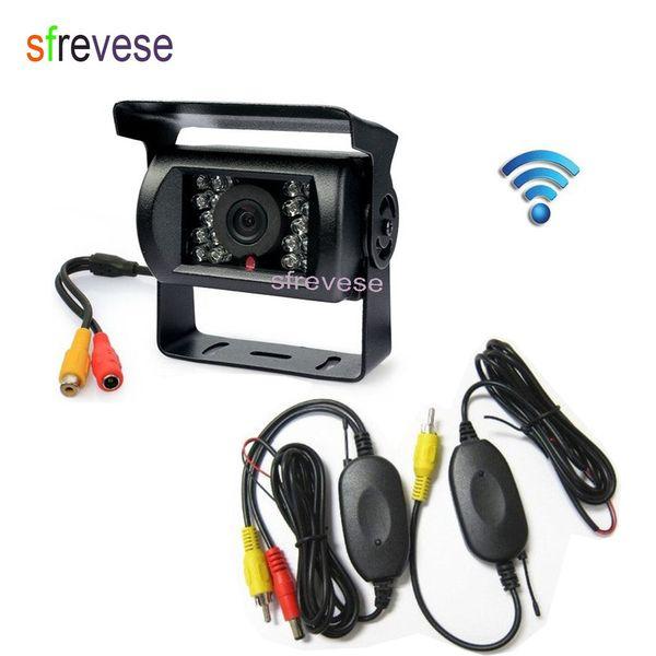 Wireless 18 LED IR Night Vision Waterproof Car Vehicle Rear View Reversing Backup Parking Camera For Bus Truck Motorhome Trailer