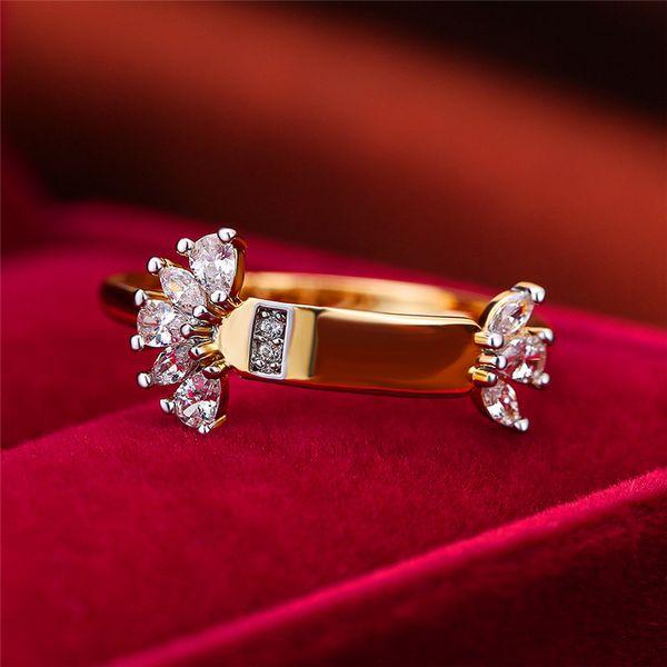 Cute Female Geometirc Flower Finger Ring Yellow Gold Bridal Engagement Ring Vintage Small Zircon Wedding Rings For Women