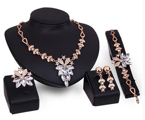 Fashion Women's Wedding Bracelet Necklace Jewelry Set Clear Crystal Statement Ring Earrings A8K5