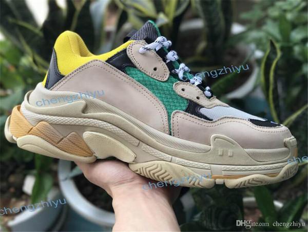 HOT 2019 Мода Paris 17FW Triple-S обувь Кроссовки Triple S Повседневная Роскошная Папа Обувь для мужчин Женщин Бежевый Черный Спортивная Теннисная Обувь 36-45
