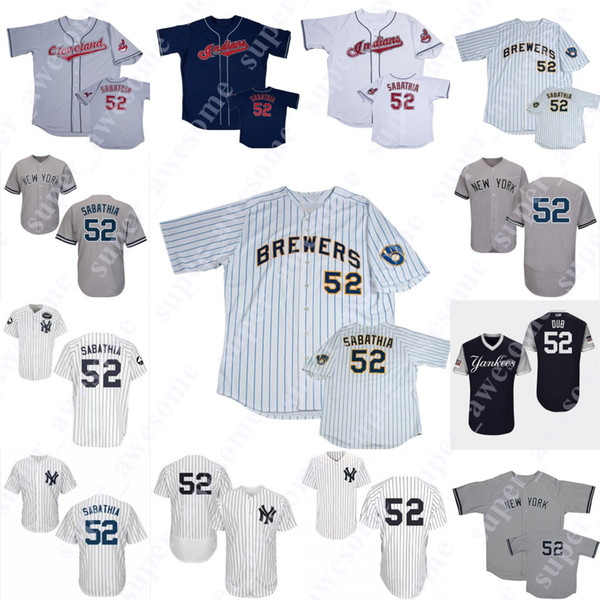 pretty nice d1e4c 2d83e 2019 52 Sabathia Jersey New York Milwaukee Cleveland Baseball Jerseys White  Grey Navy From Super_awesome, $23.73 | DHgate.Com