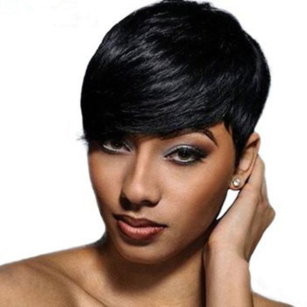 Short human Hair Wigs for Black Woman Natural Straight Pixie Cut Wigs 100% human hair machine made Wig