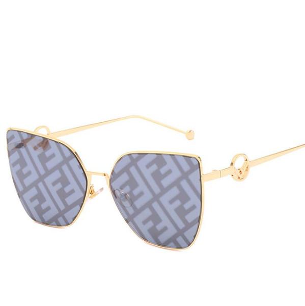 Yeni kare güneş gözlüğü moda Metal çerçeve erkekler ve kadınlar güneş gözlüğü kadın F Mektup Gözlük gözlük Gözlük Shades UV400