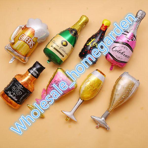 Copa do mundo grande Taça de champanhe Balões de garrafa de cerveja Folha de alumínio Hélio Festa de casamento Balões práticos Festa de aniversário de casamento Hen Christma