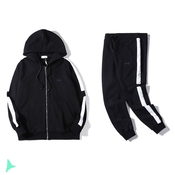 Tasarımcı Erkek Lüks Eşofman Lüks Erkek Ceket + Pantolon Spor Takımları Sıcak Marka Unisex Siyah Renk Tracksuits Üst Kalite Setleri