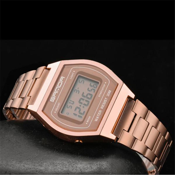 SANDA Moda Esporte Relógios Homens Relógio À Prova D 'Água LED Relógios Digitais de Prata Do Ouro Preta Relógios De Pulso Relógio Homens relogio masculino 406