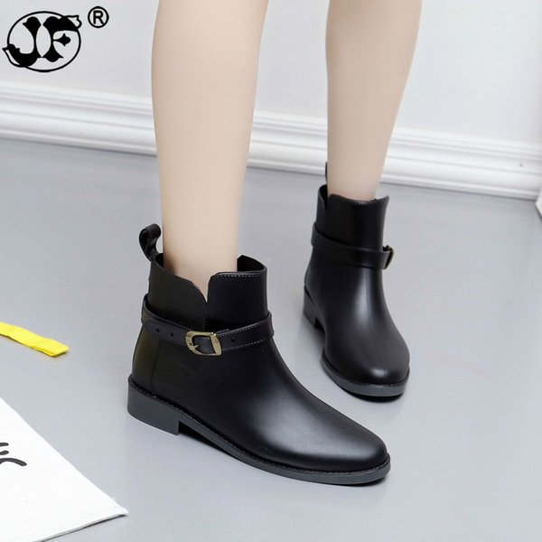 Bowtie Ankle Rain Boots Women Flat Heels Non-slip Glossy Rainboots Waterproof PVC Woman Water Shoes Wellies ghn