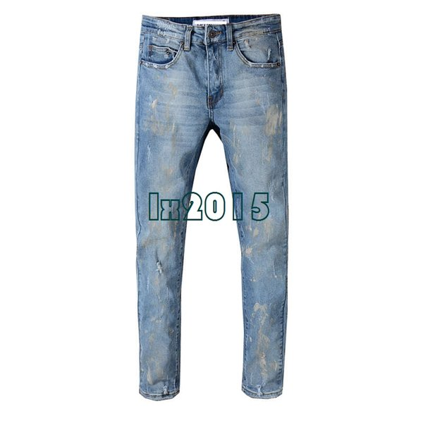 Robins Designer Slim fit blue robin jeans for men Mens Distressed Vintage Pants Washed Blue Mix White legs Denim Jeans Slim Trousers 29-40