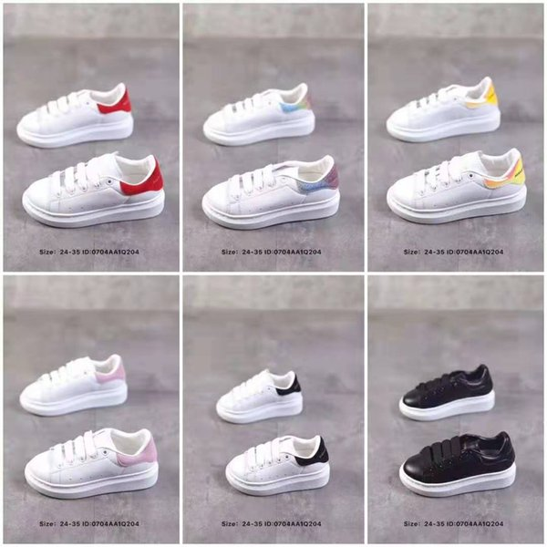 top popular 2019 Velvet kids shoes chaussures enfants Platform Casual Shoes Luxury Designers Shoes Leather White MQ sneakers 2019