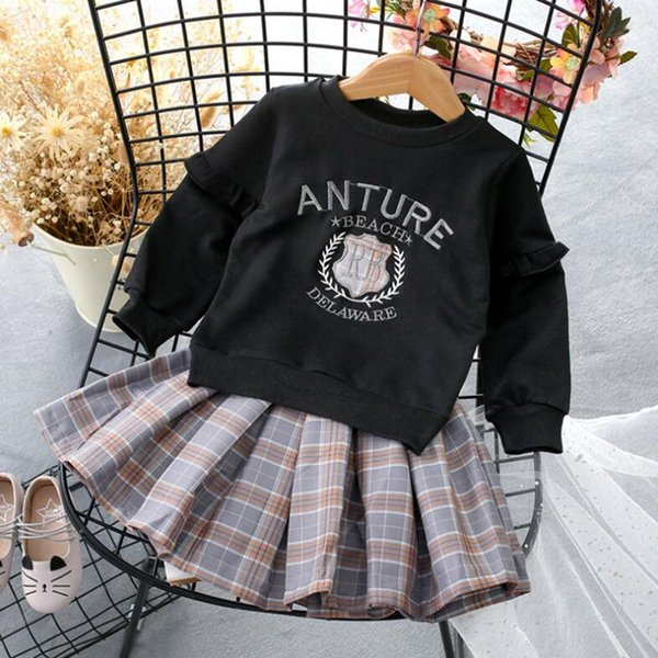 New Baby Girl's Clothes Kids Cute Suit Elegant Letter Printed Dress Long Sleeve Plaid Top Baby Girl's Clothing