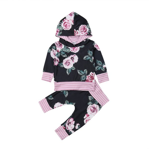 Spring Newborn Baby Boys Girls Flower Hooded Tops T-shirt Pants Leggings Outfit Set Purple Stripe Sweatshirt Clothes