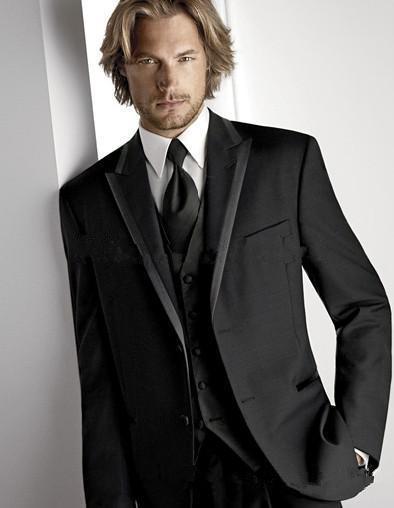 Top Recommend Two Buttons Black Groom Tuxedos Peak Lapel Groomsmen Best Man Suit Mens Wedding Suits (Jacket+Pants+Vest+Tie)