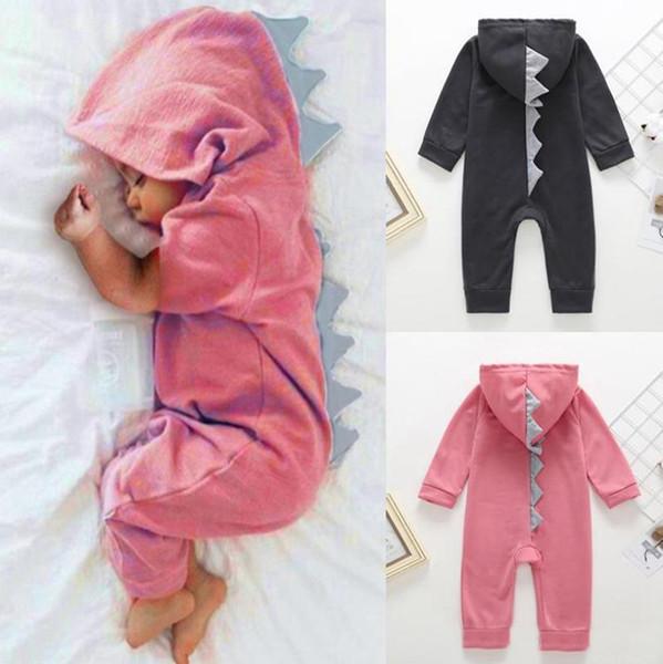INS Vêtements de bébé bébé garçon dinosaure à capuche Romper Zipper enfant en bas âge filles Jumpsuit Cartoon enfant Boutique Outfit Vêtements pour bébé 3 couleurs