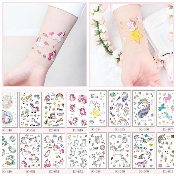 25 Styles Unicorn Tattoo Sticker DIY Cartoon Animal Funny Cute Children Fairytale World Stickers Accessories Novelty Items CCA10892 120pcs