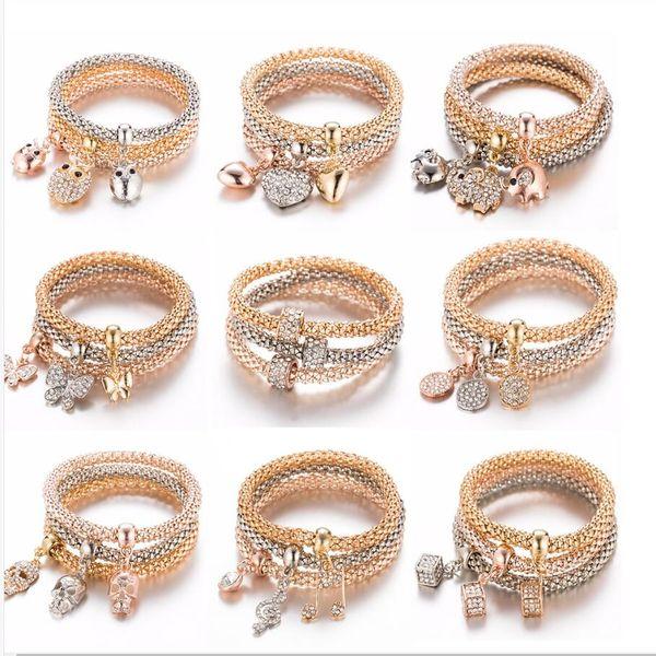 Venta al por mayor 60pcs = 20 Sets / Lot Mixed Owl Crystal Heart Bracelet Gold / Silver / Rose Elephant Anchor Colgante Femenino Rhinestone Pulsera