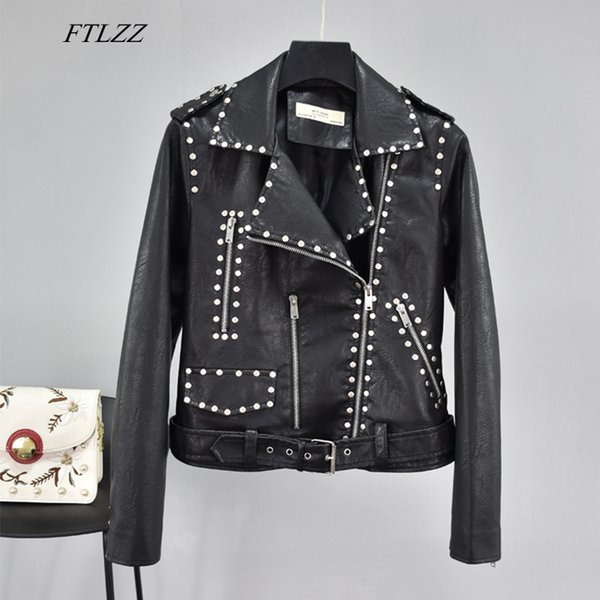 FTLZZ Autumn Black Punk Rivet Faux Leather Basic Jackets Women Pu Motorcycle Zipper Epaulet Short Coat Faux Soft Leather Outwear