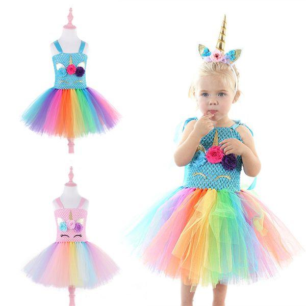 2 colors Party Princess Dress kids designer clothes girls unicorn for girls dresses Girls Lace TUTU dress evening dress DHL JY59