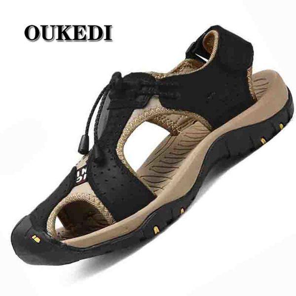 Sandali da uomo in vera pelle crosta da uomo traspirante da spiaggia con sandali romani marca scarpe da esterno infradito pantofole da ginnastica
