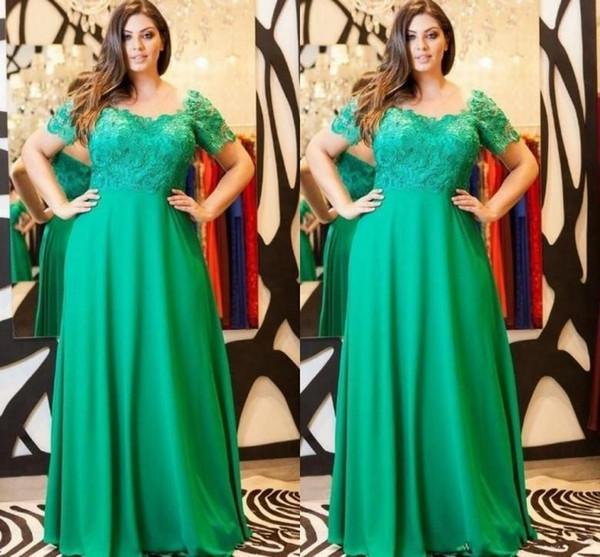 2018 Elegantes Smaragdgrün Abendkleid-Kappen-Hülsen-Spitze-formale Plus Size Mutter der Braut-Kleid nach Maße Partei-Kleider