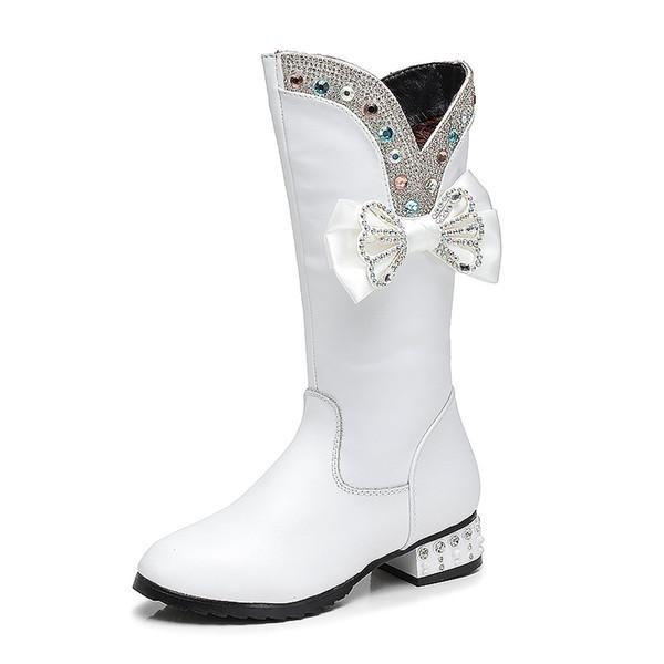 Kids Girl Knee-high Boots Children Girl Boot Winter Bow Rhinestone Girls Princess Shoes Kids Shoes waterproof boots Size 28-38