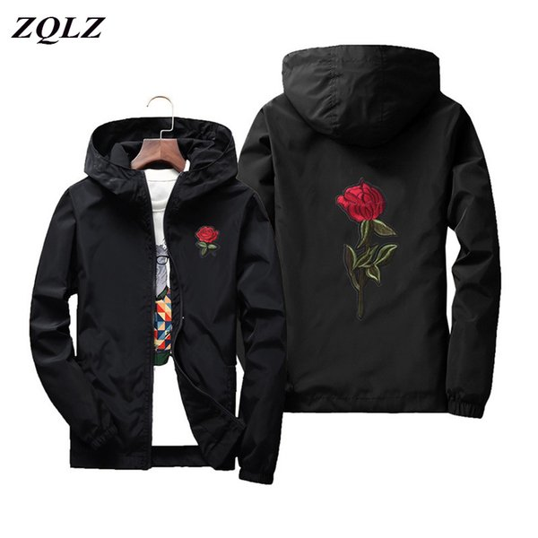 ZQLZ Plus Size 7xl Windbreaker Bomber White Basic Jacket Women 2019 Hooded Jacket Coats Embroidery Floral Rose Causal Outerwear