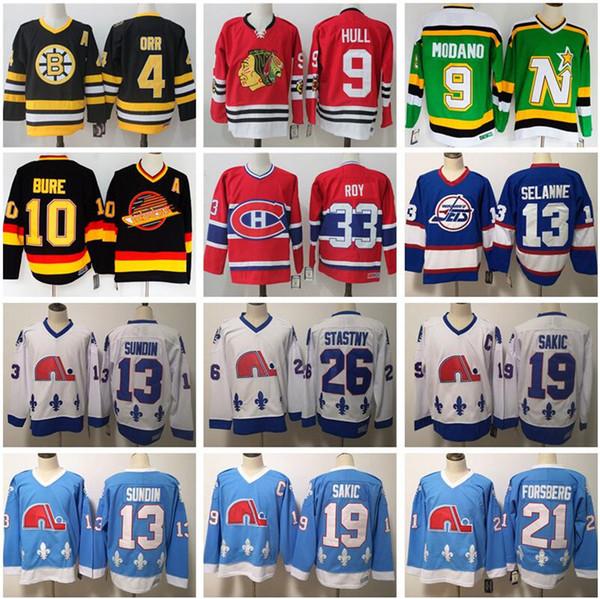 top popular Vintage Hockey Jersey 4 Bobby Orr 9 Hull Mike Modano 33 Patrick Roy 10 Pavel Bure 13 Teemu Selanne 19 Joe Sakic Peter Stastny 21 Forsberg 2020