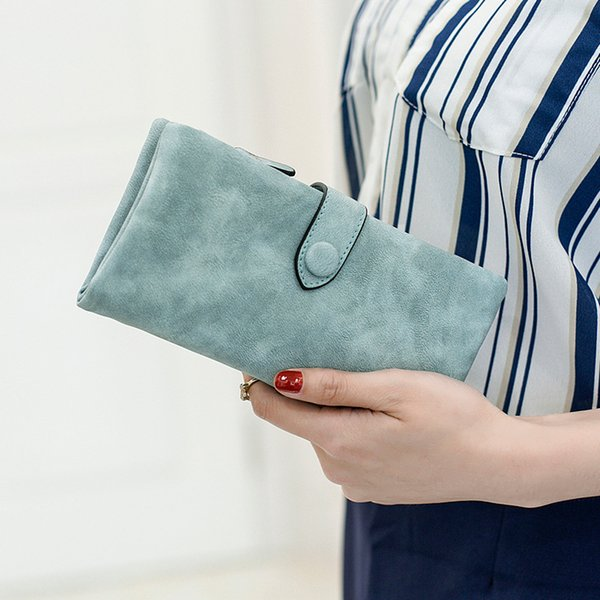 Nuevo diseño de bloqueo RFID para mujer de gran capacidad de cera de lujo Cartera de cuero genuino Cartera de tarjeta Organizador Monedero para mujer