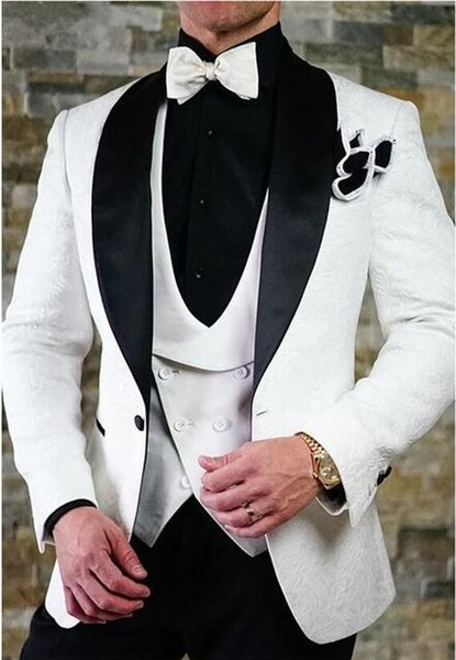 White Printed Lace Wedding Suits For Men Slim Fit Custom Made Three Piece Tuxedo Groom Suit Men Prom Party Suits CY014