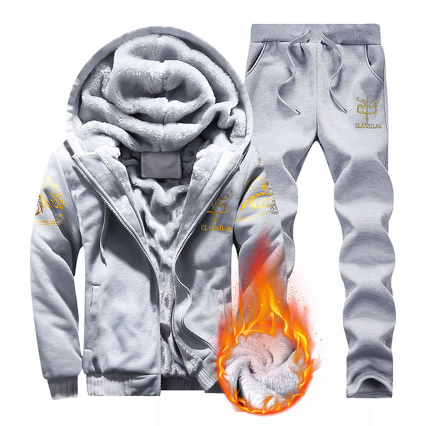 2019 Mens Fleece Pullover Anzug Winter-beiläufige mit Kapuze Warm Sweatshirts Männer verdicken 2PC Jacke + Hosenanzug Männer Moleton