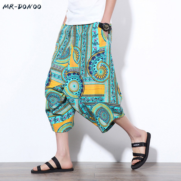 Mrdonoo 2018 Summer Chinese Style Men Loose Linen Shorts Knee Length Harem Pants Male Bermuda Casual Board Short Pants M-5xl J190506