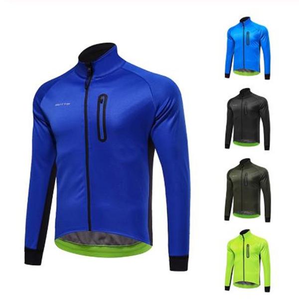 Nuevo ciclo de la chaqueta caliente invierno de los hombres de la bicicleta MTB bici del camino ropa impermeable a prueba de viento Escudo Escalada larga Jersey manga