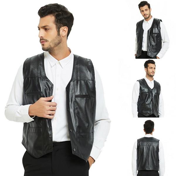 Schöne Mode Männer Weste Plus Samt Herbst Leder Biker Weste Mit Taschen Motorrad Rock Ärmellose Dicke Jacke Männlichen 5xl