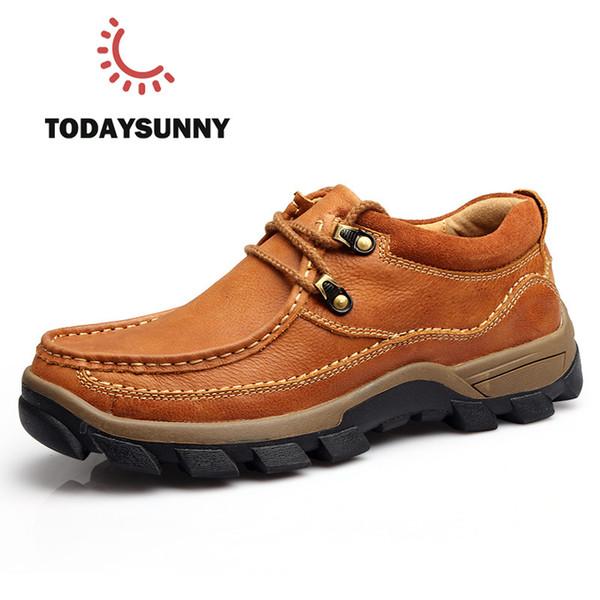 Hakiki Deri erkek Ayakkabıları 2017 Sonbahar Kış Rahat Su Geçirmez Iş Ayakkabıları Açık Kauçuk Dantel-up Oxfords chaussure homme