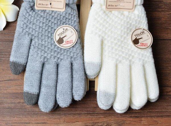 Criativo novo estilo imita luvas de tela de toque de cashmere magia homens e mulheres geral inverno quente elástico luvas de tricô luvas de lã