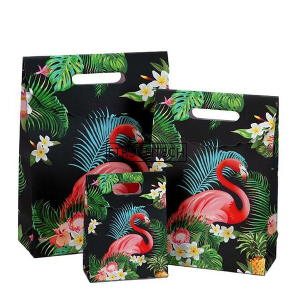 wholesale Flamingo Sticky Bag Thanksgiving Gift Wrapping Paper Bag Fresh Vertical Candy Box Party Decoration 100pcs
