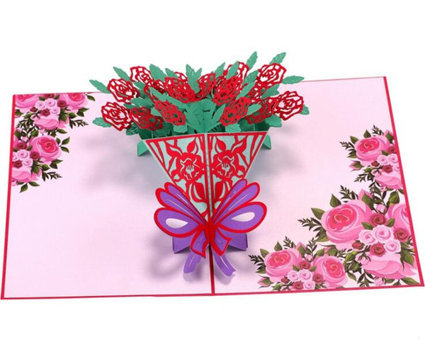 3D Rose Bouquet Valentine's Day Stereo Greeting Card Birthday Blessing Creative paper carving hollow Gift Small Card
