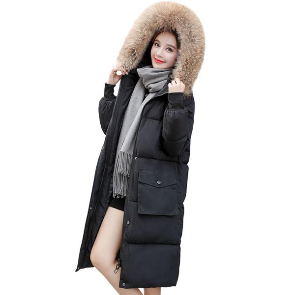 Moda invierno otoño mujer para mujer de piel con capucha chaqueta larga de algodón acolchado espesar Parkas mujer mujer abrigo de abrigo 2018