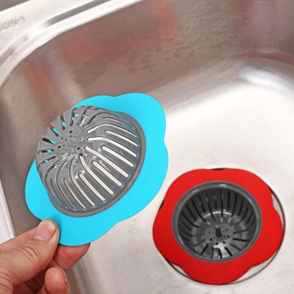 Flower Shaped Silicone Sink Strainer Shower Sink Drains Cover Drain sink Filter Plastic Kitchen Stopper bathtub Hair Filter
