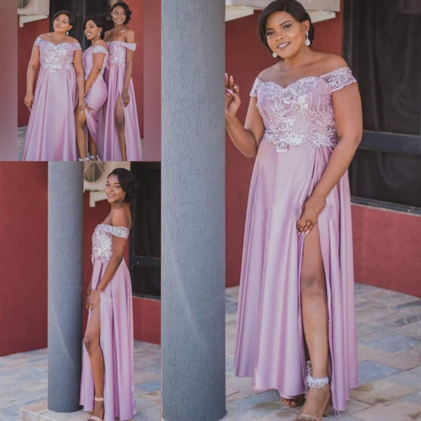 African Plus Size Bridesmaid Dresses Long Side Split Lace Appliques Beads Off The Shoulder Wedding Guest Gowns Spring Maid Of Honor Dress