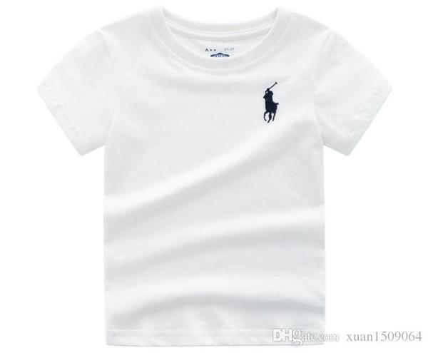Camiseta de manga corta de algodón puro para niños, color puro, ropa de niños de Europa y América, bordado de manga corta de verano para niños