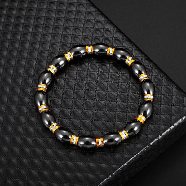 Black Bead Bracelet Hematite Round Beads Stretch Bracelet For Men and Women Anti-Fatigue Magnetic Therapy Bracelets jewelry drop ship
