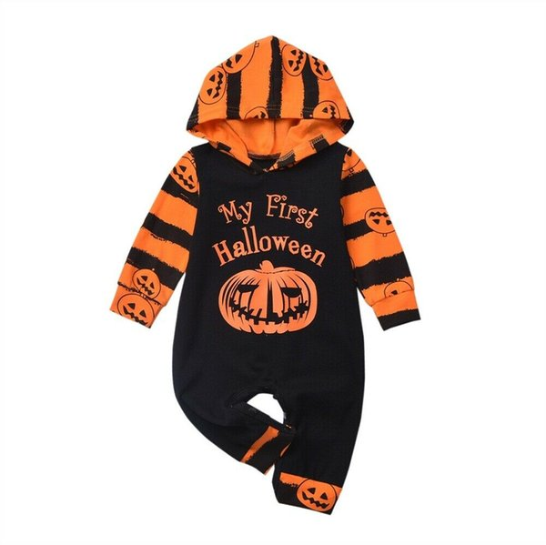 Infant Newborn Baby Boy Halloween Hooded Romper Bodysuit Jumpsuit Outfits Clothes
