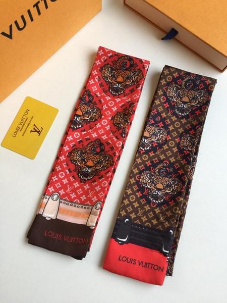 Designer marque Nouveau Imprimer Poignée Sac Rubans Marque Petite Foulard En Soie Pour Les Femmes Mode Tête Écharpe Petit Long Maigre Écharpes En Gros